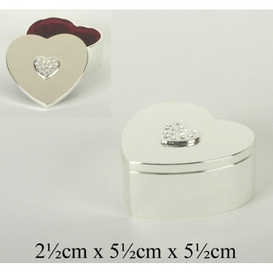 Silver Plated Heart Trinket Box With Clear Crystal Top
