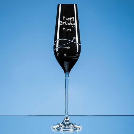 Black Swarovski Element Champagne Flute Engraved In Your Own Handwriting