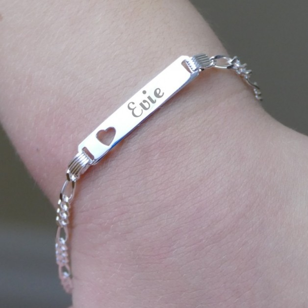 Personalised Childs Silver Identity Bracelet
