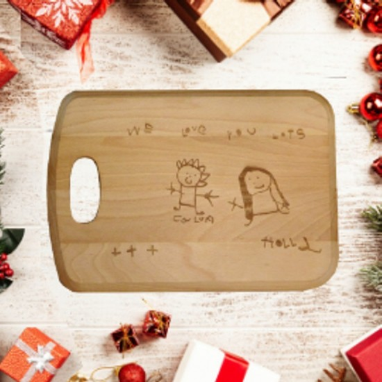 Large Personalised Wooden Chopping Board Engraved In Your Own Handwriting