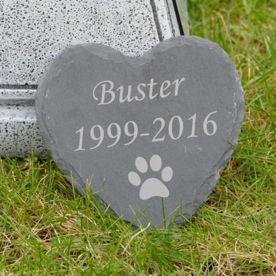 Dog Memorial Slate Heart Garden Stone