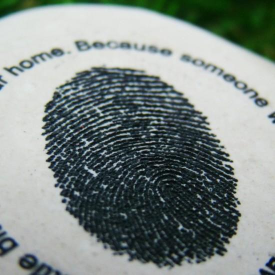Engraved Finger Print Pebble