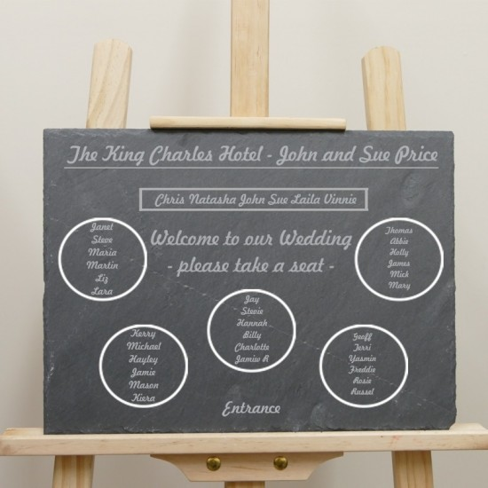Engraved Slate Wedding Table Plan