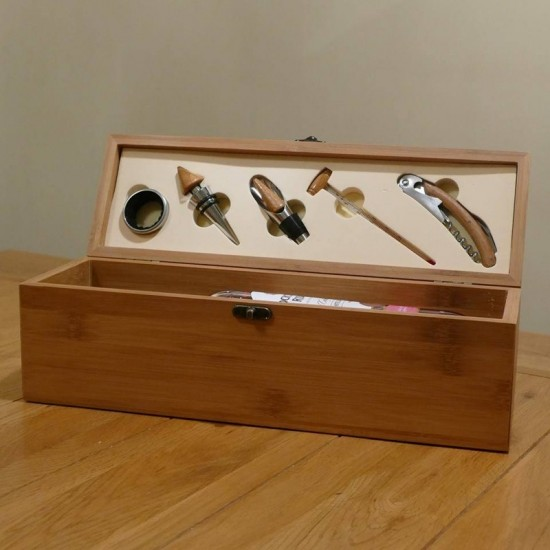 Engraved Bamboo Wooden Wine Box