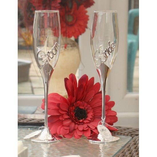 Engraved Personalised Bride and Groom Champagne Glassses