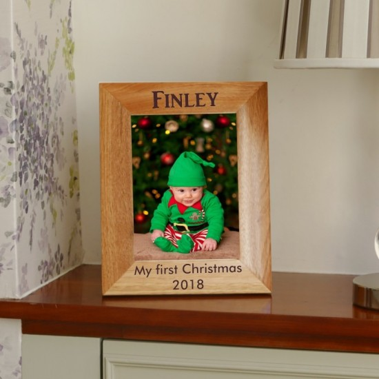 Personalised First Christmas Photo Frame 5x7