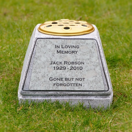 Personalised Graveside Memorial Flower Pot Crafted From Natural Stone