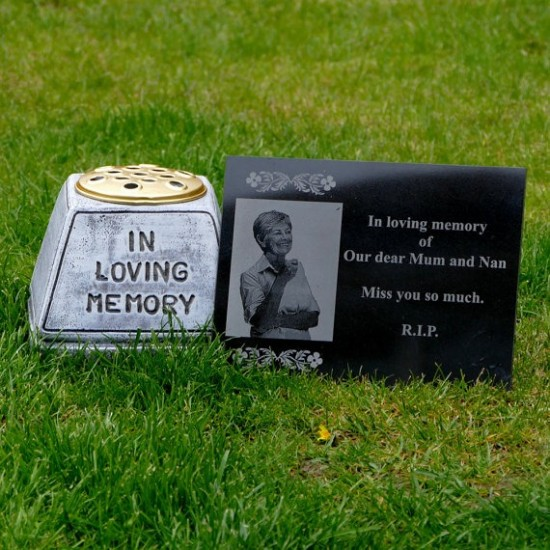 Granite Memorial Stone Plaque Personalised With Engraved Photo