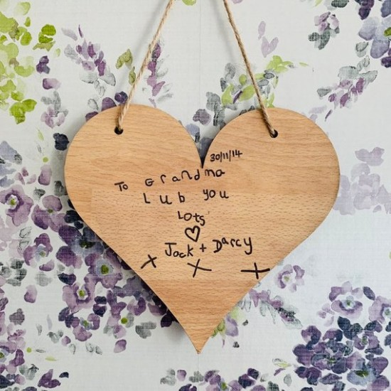 Personalised Hanging Wooden Heart Engraved In Your Own Handwriting