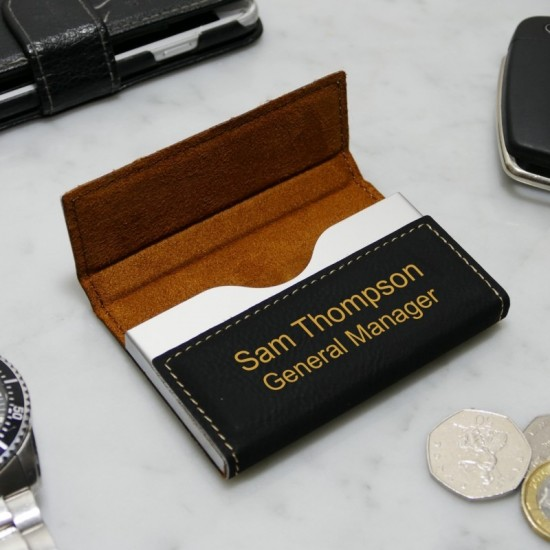 Personalised Black Business Card Holder
