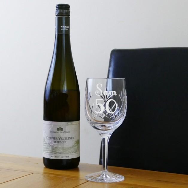 Engraved Crystal Wine Goblet