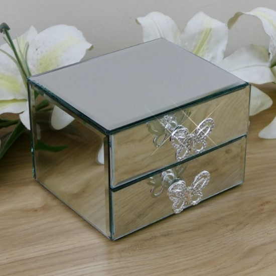 Personalised Glass Jewellery Box With Butterfly Draw Handles