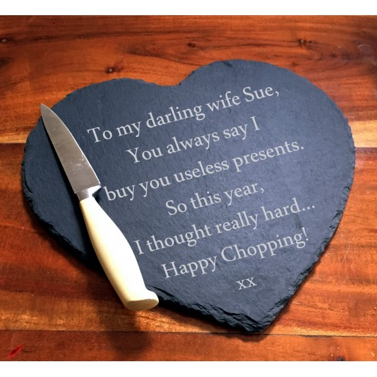 Engraved Slate Cheese Board Engraved With A Personalised Message