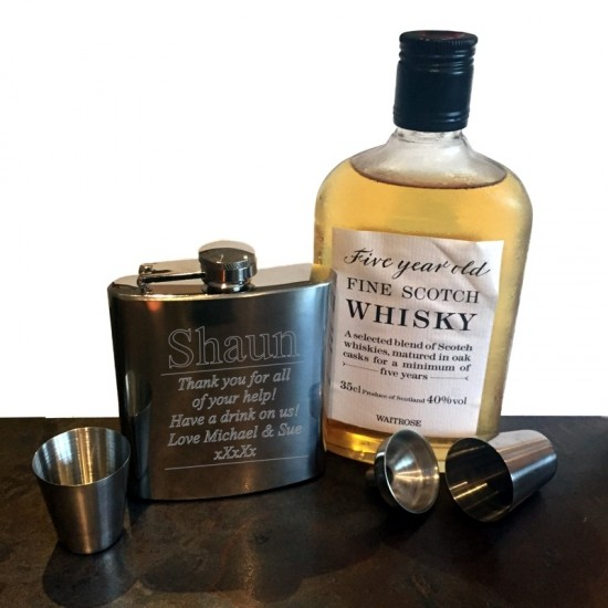 Engraved Hip Flask With Personalised Message