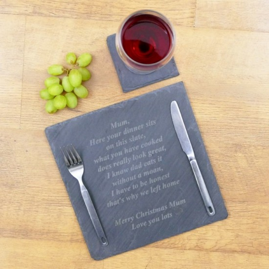 Personalised Square Slate Table Mats With Funny Message (Set of Two)