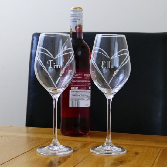 Set of two Swarovski Crystal Wine Glasses