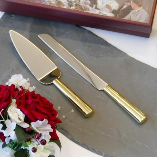 Personalised Gold Cake Knife Server   Gold Cake Knife Set