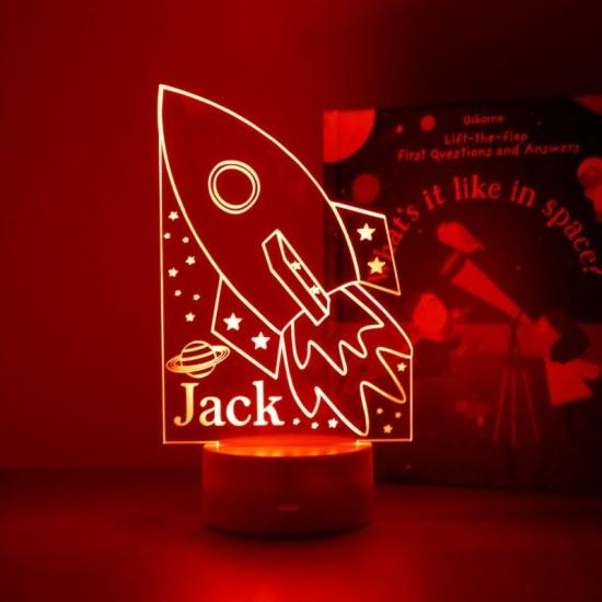 Personalised Space Rocket Night Light