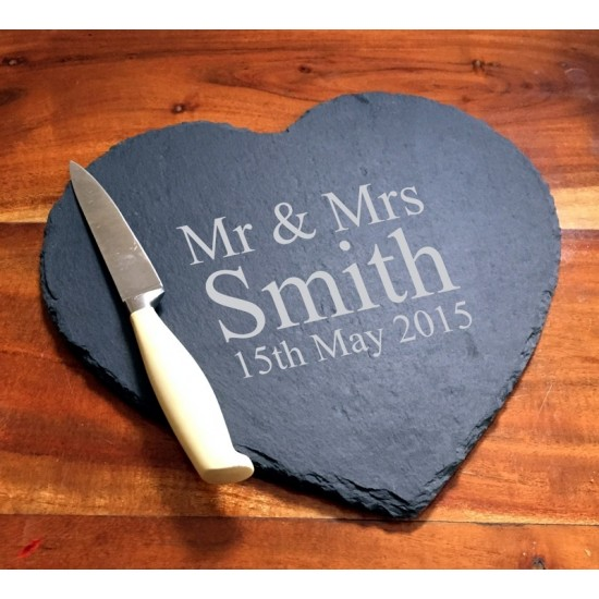 Mr & Mrs Engraved Heart Slate Cheese Board Personalised with Surname and the Date of the Wedding