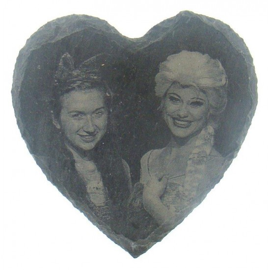 Small Photo Engraved Slate Heart | Hanging Slate