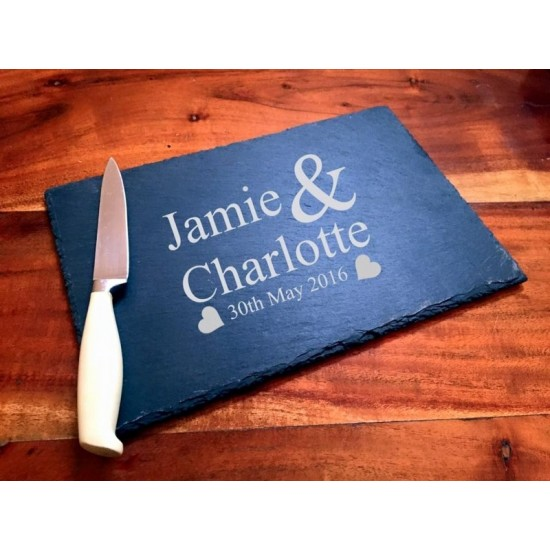 Personalised Slate Cheese Board Engraved with Names and Date