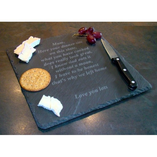 Personalised Slate Cheeseboard Engraved With Your Own Message