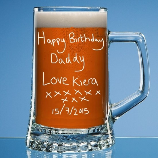 Personalised Pint Glass Tankard Engraved In Your Own Handwriting