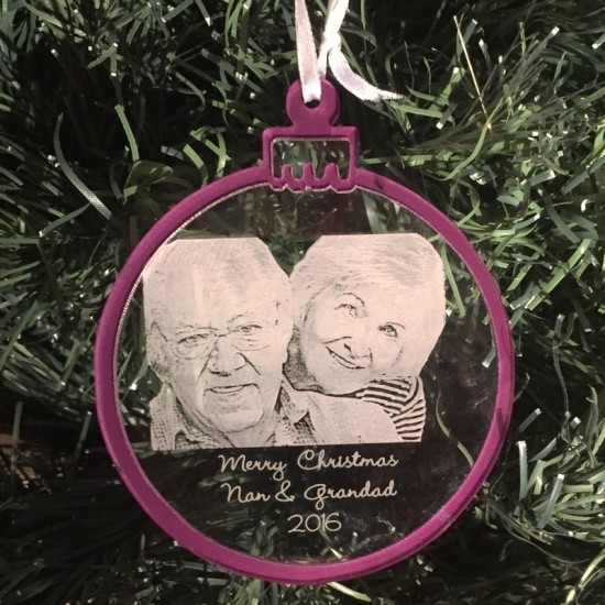 Photo Engraved Bauble With Personalised Message