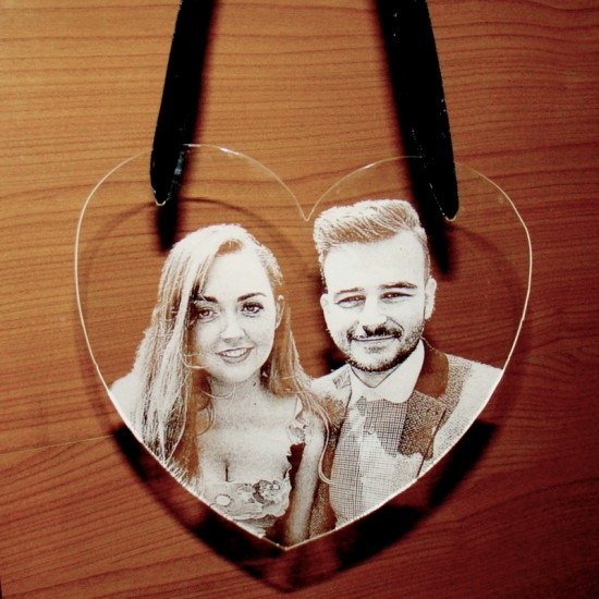 Photo Engraved Acrylic Heart   Photo Gifts