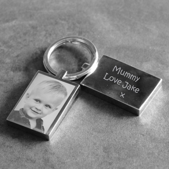 Photo Engraved Keyring With Childs Drawing