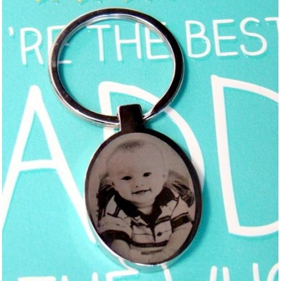 Oval Photo Engraved Keyring | Photo Keyrings