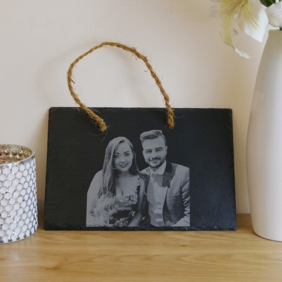 Personalised hanging slate with photo