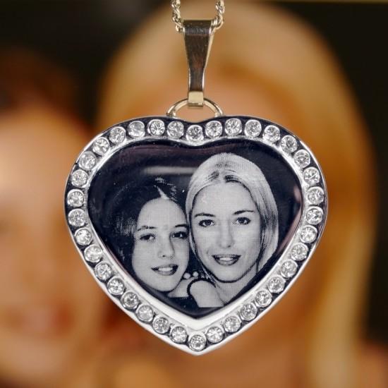 Photo Necklace | Photo Engraved Diamante Pendant