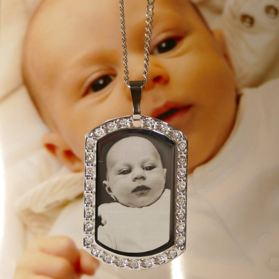 Photo Engraved Necklace | Diamante Dog Tag Photo Pendant