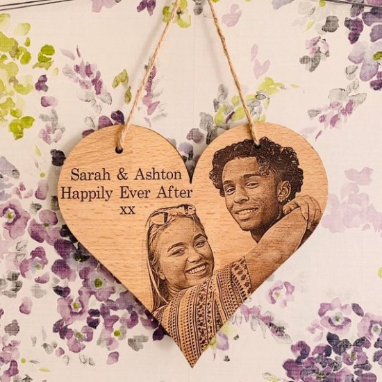 Photo Engraved Wood Heart | Hanging Wood Heart