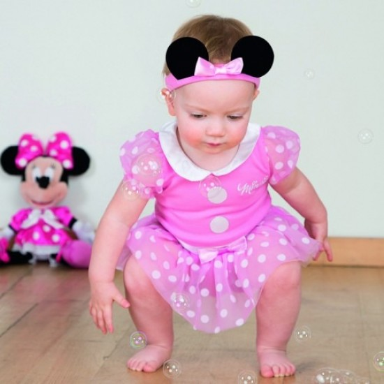 Pink Minnie Mouse Bodysuit With Matching Hat
