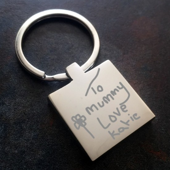 Square Personalised Keyring Engraved In Your Own Handwriting