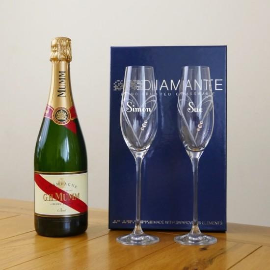 Diamante Heart Champagne Flutes