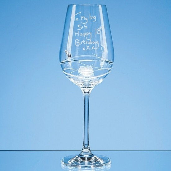 Swarovski Element Wine Glass Engraved In Your Own Handwriting