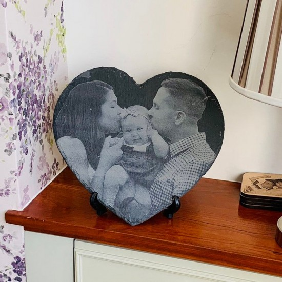 Photo Engraved Slate Heart | Photo Slates