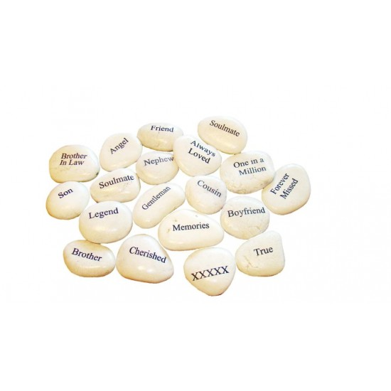 Engraved cream pebbles place settings