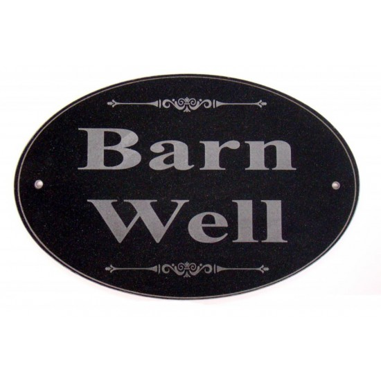 Engraved Oval Marblite House Sign
