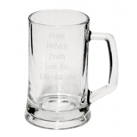 1/2 Pint Glass Tankard in your own handwriting