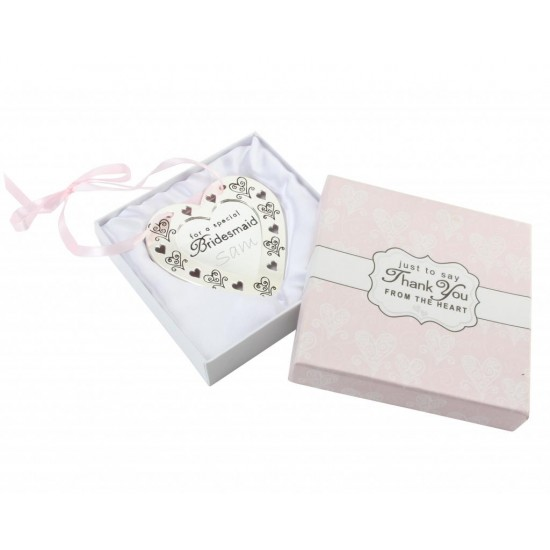 Hanging Silver Plated 'Bridesmaid' Heart