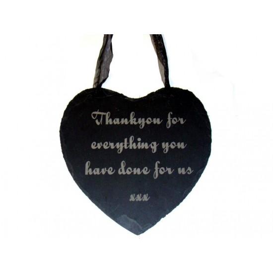 Engraved Hanging Slate Heart
