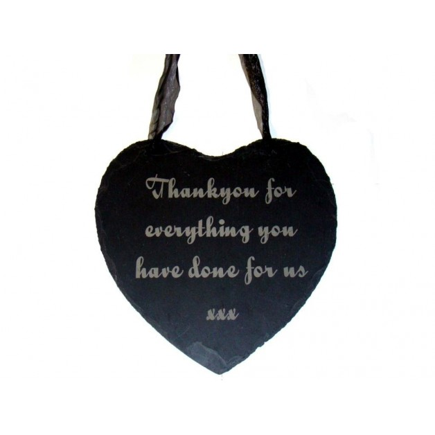 Engraved Hanging Slate Heart