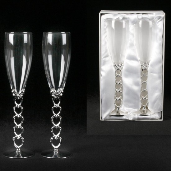 Love Heart Stem Champagne Glasses