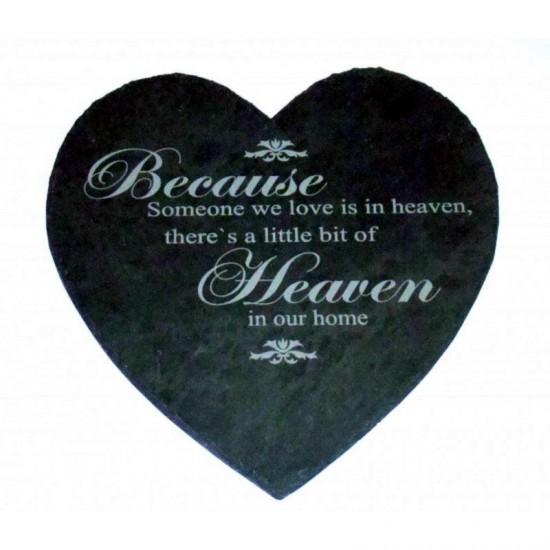 Engraved Slate Heart Memorial Stone