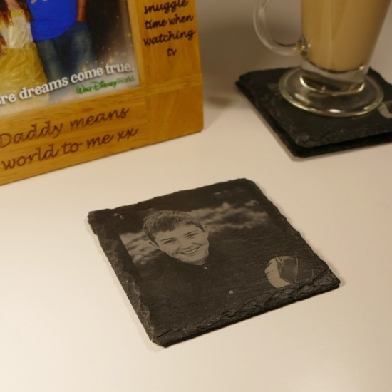 Square Photo Engraved Slate Coasters