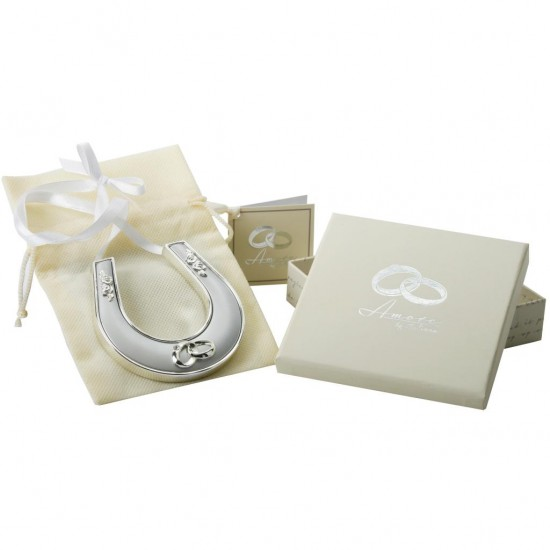 Silver Plated Horse Shoe With Ribbon